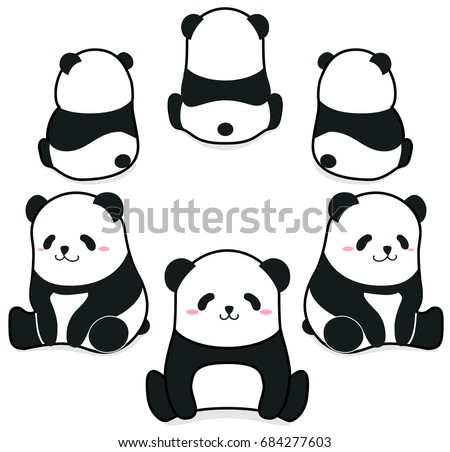 Cute funny cartoon style panda bear sitting in the circle vector illustration.
