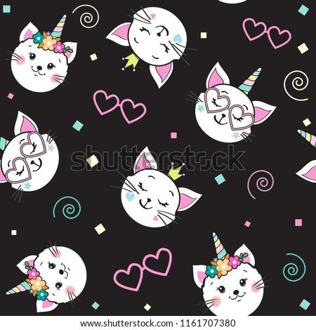 cute funny cat unicorn seamless
