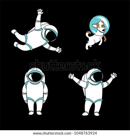 Cute funny cosmonaut astronaut spaceman characters exploring outer space with dog cartoon. Flat line design. Vector illustration. Black background