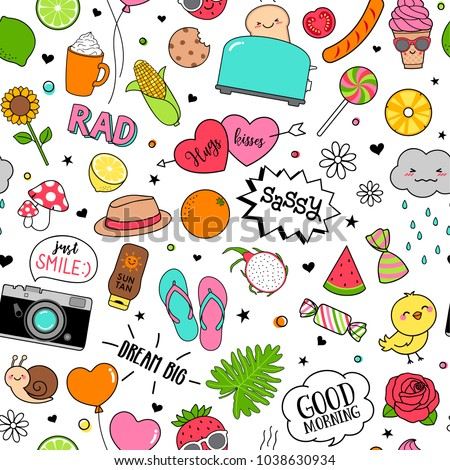 cute funny doodles seamless