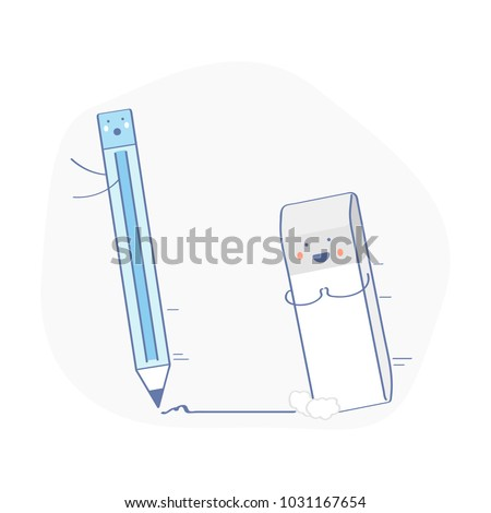 Cute funny eraser chasing the pencil. He wants to cuddle. Rubber icon, correction symbol, erasure mistake correction, remove, deleting tool. Flat outline vector illustration on white background.