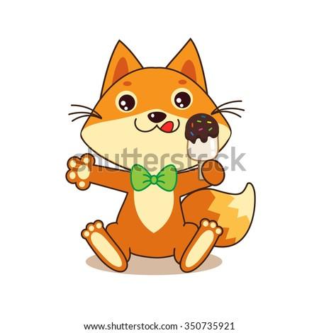 cute funny fox with ice cream