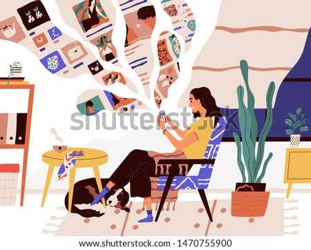 Cute funny girl sitting in comfy armchair and surfing internet on her smartphone. Smiling young woman using social network at home. Online search and communication. Flat cartoon vector illustration.