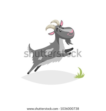 Cute funny goat. Cartoon flat style trendy design farm domestic animal. Spotty grey breeded goat jumping. Vector illustration isolated on white background.