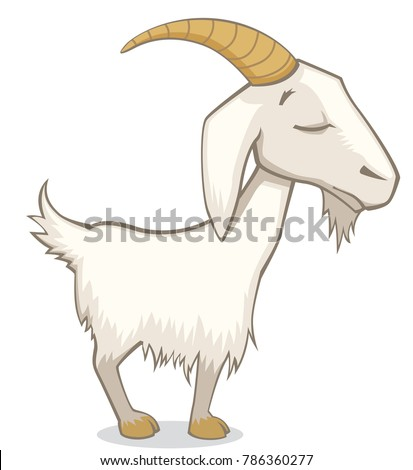 Cute Funny Goat with Eyes Closed Cartoon Style Vector Illustration Isolated on White