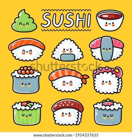 Cute funny happy sushi, maki, rolls cartoon character set collection. Vector hand drawn line kawaii character illustration icon. Cartoon kawaii cute sushi, asian food restaurant menu concept
