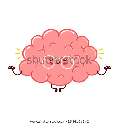 Cute funny human brain organ meditate character.Vector flat hand line cartoon kawaii character illustration icon. Isolated on white background. Brain organ relax,calm mood character meditation concept