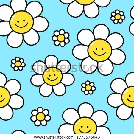 Cute funny kawaii smile face flowers on blue background seamless pattern.Vector cartoon kawaii character illustration design.Positive vintage smiley smile face camomile flower seamless pattern concept