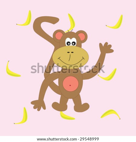 ... funny monkey on banana background. vector illustration - stock vector