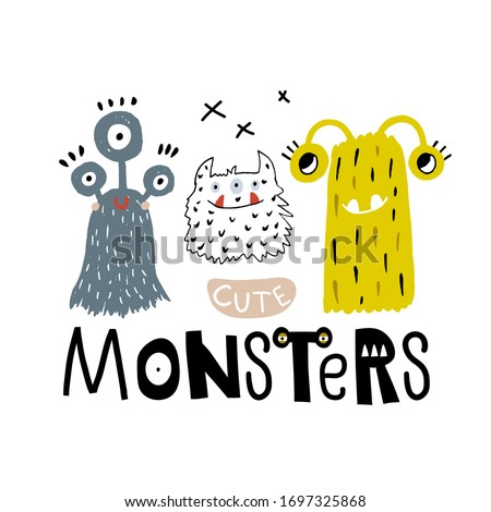 cute funny monsters print with