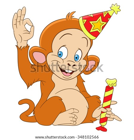 cute funny new year monkey is