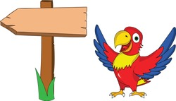 cute funny parrot presenting a banner sign arrow with open wings