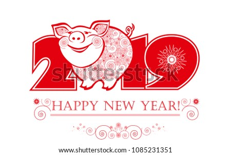 cute funny pig. happy new year. ...