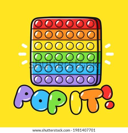 Cute funny Pop it popit fidget sensory toy logo t-shirt.Vector hand drawn cartoon kawaii illustration logo icon.Pop it popit fidget kids sensory bubble toy doodle cartoon logo,t shirt design concept