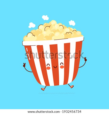 Cute funny Popcorn character concept. Vector hand drawn cartoon kawaii character illustration logo icon. Isolated on blue background.Cute cartoon pop corn bucket,Popcorn,food character logo concept