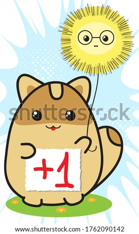 Cute funny raccoon holds paper sheet with inscription +1. Vector flat cartoon character illustration. Concept of approval and friendly support. I'm with you. Catch plus from me. Voting, teamwork