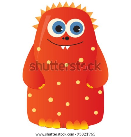 cute funny red monster. vector illustration