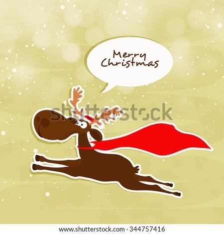 cute funny reindeer running on