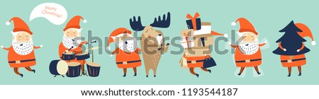 Cute funny Santa Claus in vector set