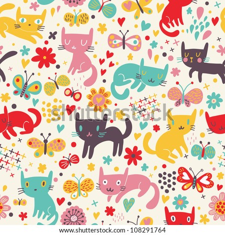 Cute funny seamless pattern with cats and butterflies
