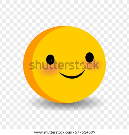 Cute funny smile face. Vector illustration smile icon. Face emoji yellow icon. Smile cute funny emotion face on transparent background. Happy feelings, expression for message, sms.