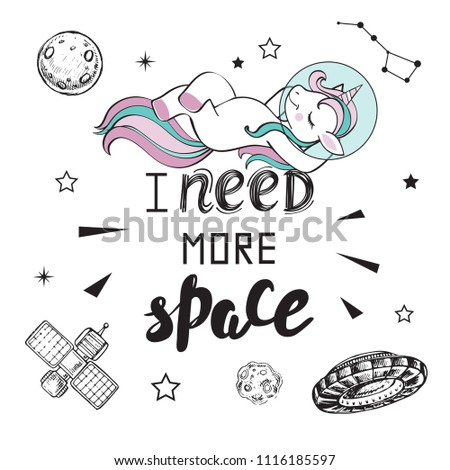 cute funny unicorn in space and