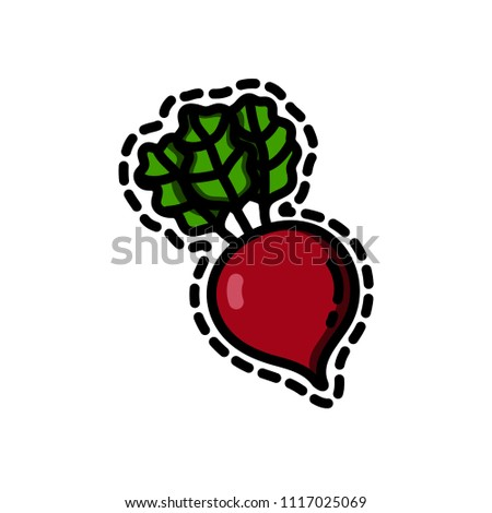 Cute funny vector illustrations of a beet or beetroot on white background in doodle cartoon style suitable for stickers, fashion patches, badges, print, books, menus