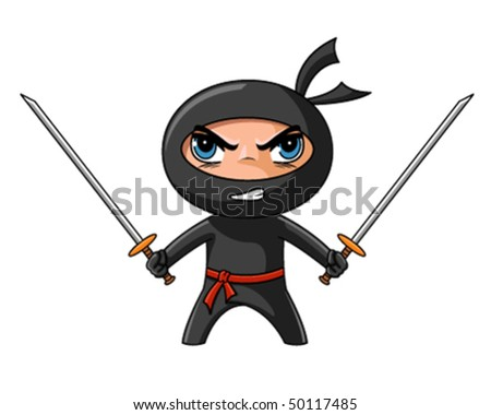 cute furious ninja with katana