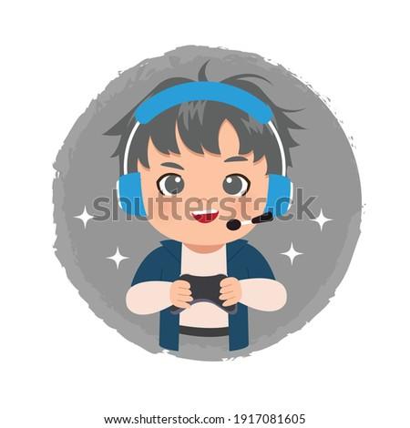 cute gamer boy logo wearing