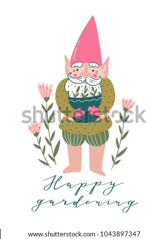 cute garden gnome with a pot