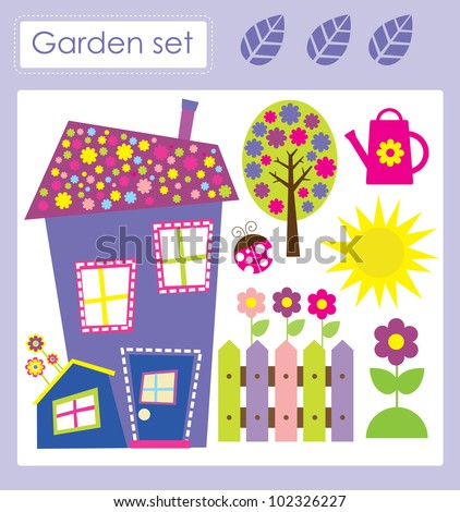 cute garden set. vector illustration