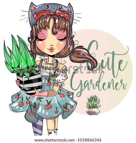 cute gardener little girl with