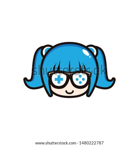 CUTE GEEK GAMER GIRL BLUE DESIGN VECTOR.eps