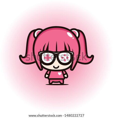 CUTE GEEK GAMER GIRL PINK DESIGN VECTOR.eps