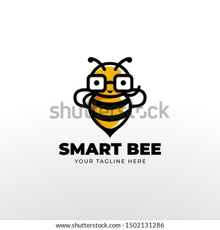 cute geek smart bee wear glasses mascot logo.