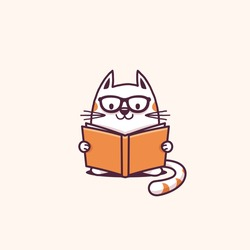 Cute geeky cat reading a book vector cartoon illustration