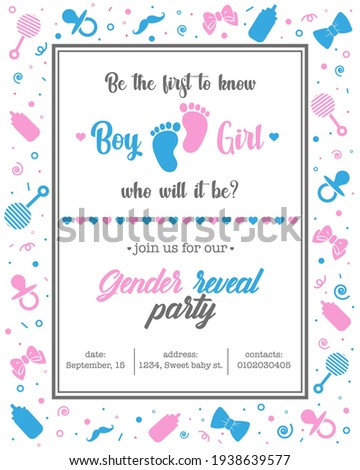 cute gender reveal party invitation Photo stock ©