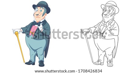 Cute gentleman, elegant man. Coloring page and colorful clipart character. Cartoon design for t shirt print, icon, logo, label, patch or sticker. Vector illustration. Foto stock ©
