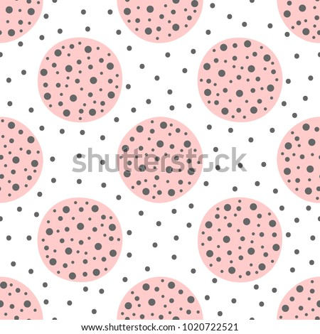 Cute geometric seamless pattern with circles. Drawn by hand. Endless vector illustration for children.