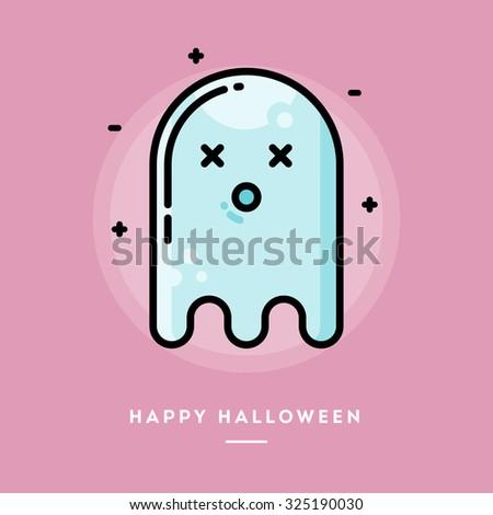 cute ghost  flat design thin