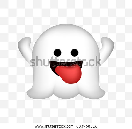 cute ghost icon on transparent