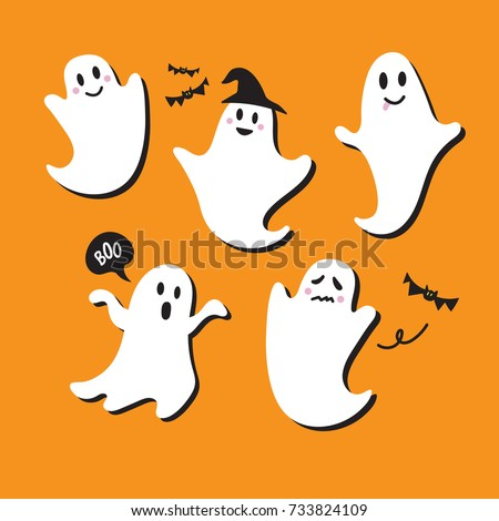 cute ghost vector illustrations