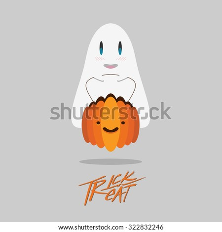 cute ghost with halloween