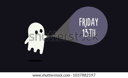 cute ghost with his flashlight