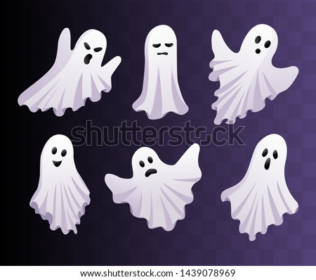 Cute ghosts set. Vector Halloween concept. Ghost icons isolated Сток-фото ©