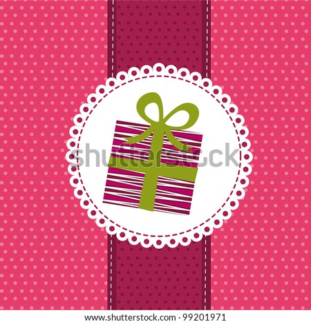 cute gift over pink greeting card. vector illustration
