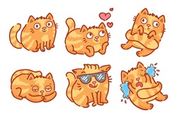 Cute Ginger Cat character: in love, good mood, happy, cool, sleepy, crying, sad emotion. Set of vector outline hand drawn style, sketch cartoon illustration as logo, mascot, sticker, emoji, emoticon