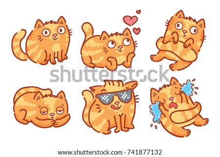 cute ginger cat character  in