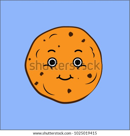 Cute gingerbread chocolate cookie flat vector illustration smiling face on blue background baking bakery food happiness love nutrition cafe eating homemade holidays icon cartoon comics character logo.