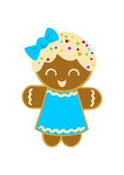 Cute gingerbread girl decorated with colored glaze on a white background. Cute vector illustration for christmas, new year, winter holiday, cooking, new year's eve